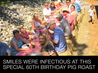 Smiles were infectious at this special 60th birthday pig roast celebration.