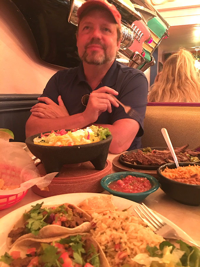 Richard enjoying tex mex to the tex max