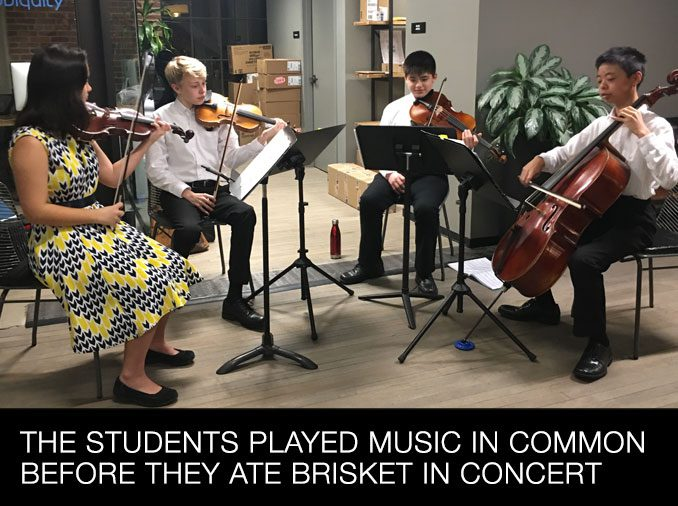 The Students Played Music in Common Before they ate Brisket in Concert.