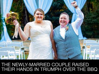 The newly-married couple raised their hands in triumph over the BBQ.